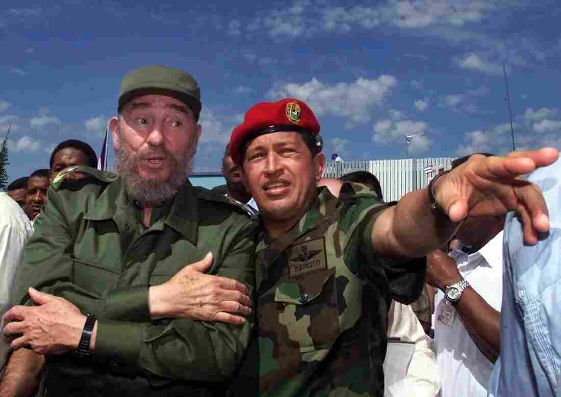 Cuban President Fidel Castro (left) and Venezuelan President Hugo Chavez in Barinas, Venezuela, in 2000. The two formed a close partnership, which has continued with their successors. However, the prospect of normal ties between the U.S. and Cuba may also have an impact on relations between Cuba and Venezuela.
