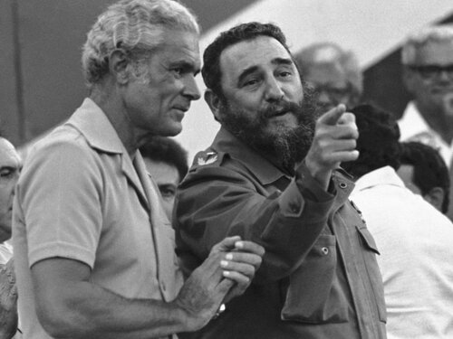 Cuba's President Fidel Castro visits Jamaica's Michael Manley during a huge rally in Montego Bay on Sept. 17, 1977.