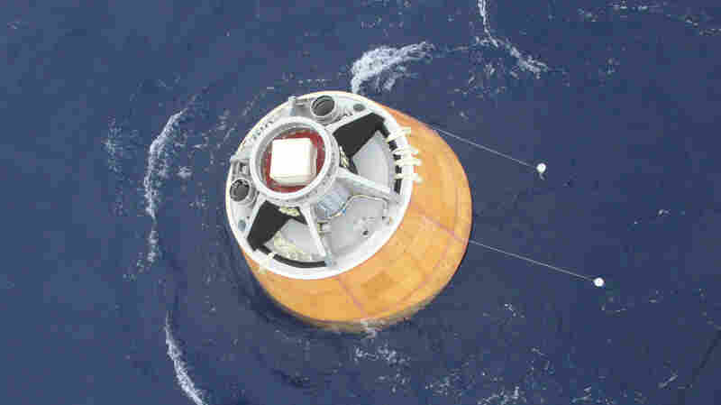 India's test crew module floating in the Andaman Sea after splash down.