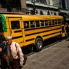 A bus travels through downtown Tegucigalpa, Honduras.