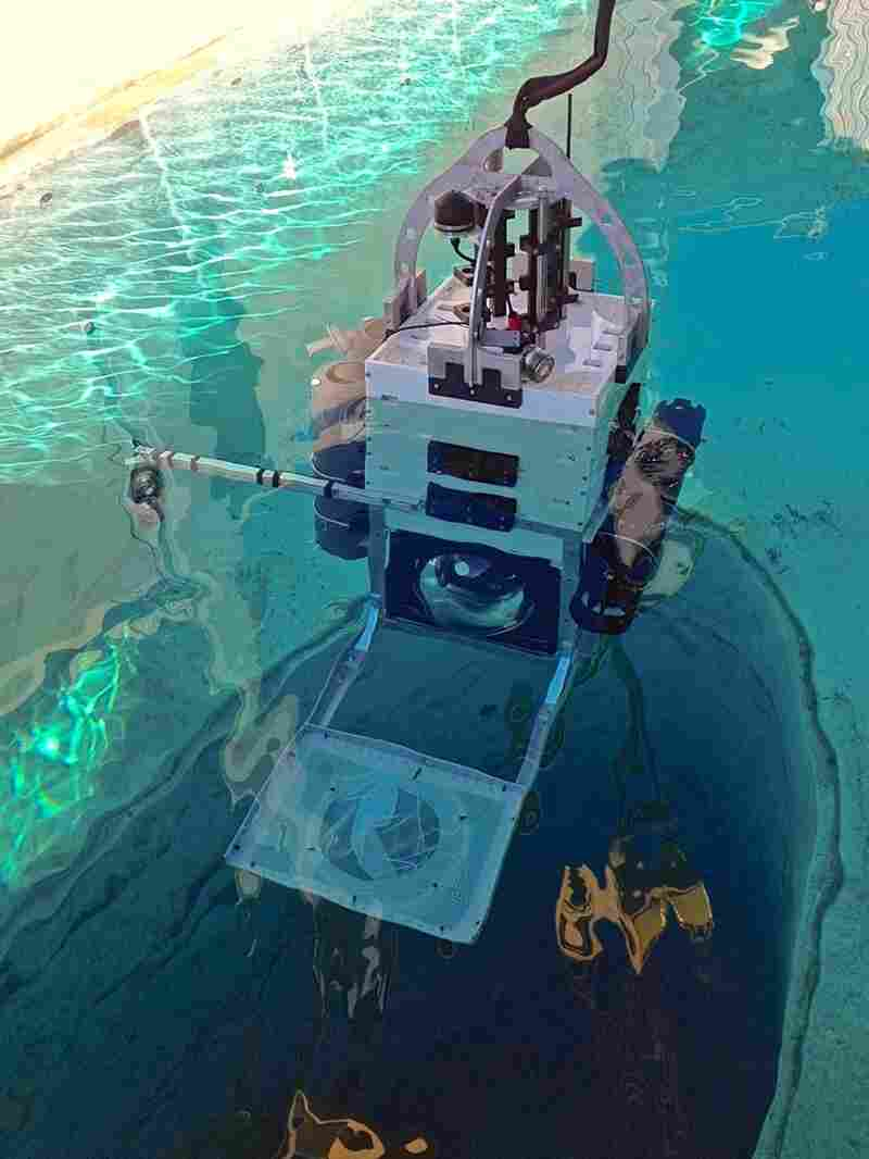 Testing the camera system of the Leggo, a deep sea research probe, prior to the expedition. Sensors and equipment can be easily added or removed from the probe, like interchangeable blocks.