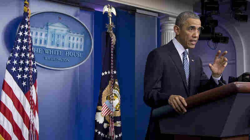 President Obama speaks in the Brady Press Briefing Room at the White House during a media briefing last month.
