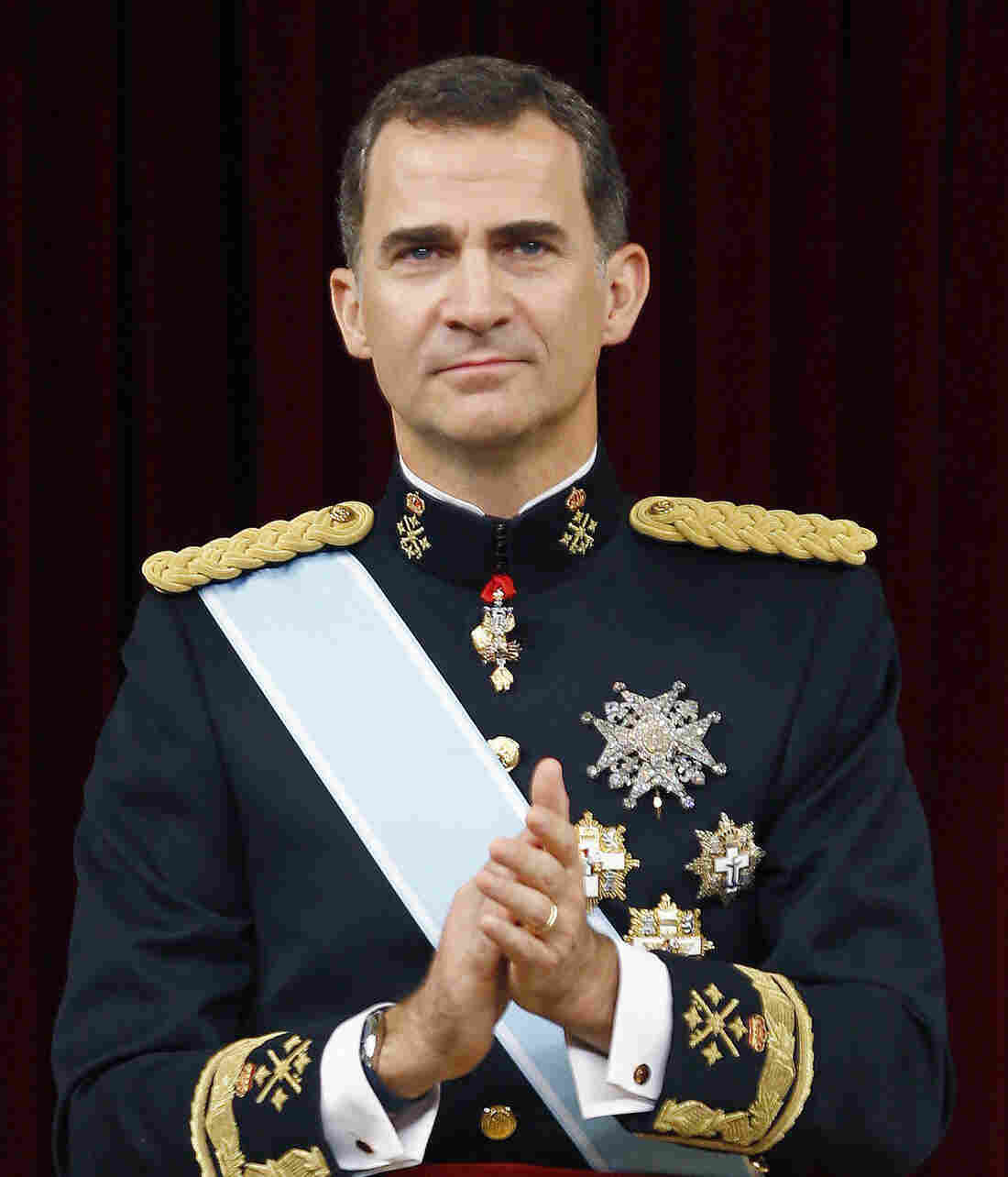 King Felipe VI of Spain attends the Congress of Deputies for the proclamation as King of Spain to the Spanish Parliament on June 19.