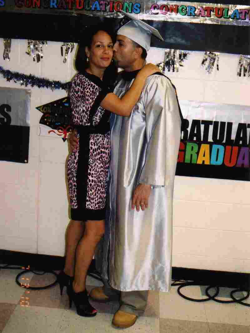 Padilla, seen with his wife, Lisette, earned his associate degree while in prison.