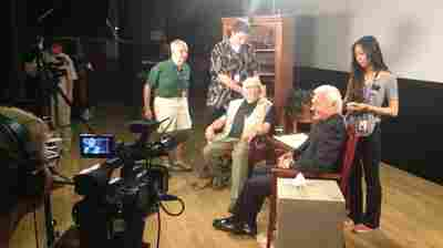 Residents prep on the set of Behind the Silver Screen, a Channel 22 series profiling life stories of Hollywood veterans who are Motion Picture and Television Fund residents.