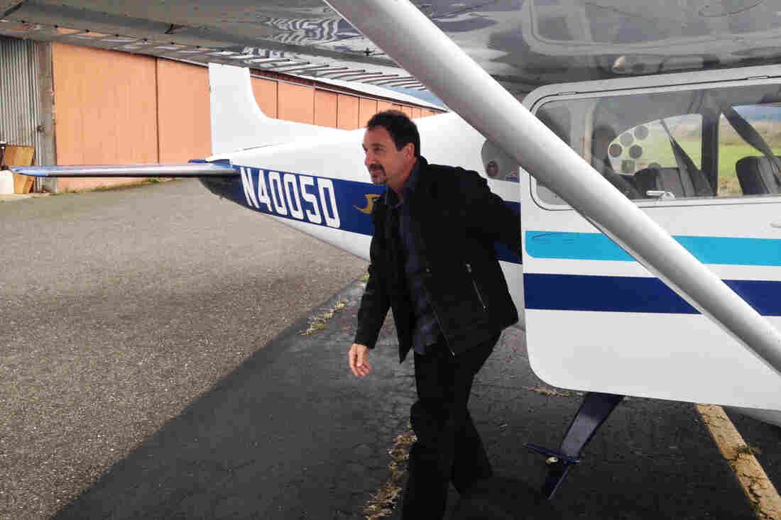 Palliative medicine physician Michael Fratkin gets off a plane after visiting a patient on the Hoopa Valley Indian Reservation. He's recently launched a startup to support this kind of work.
