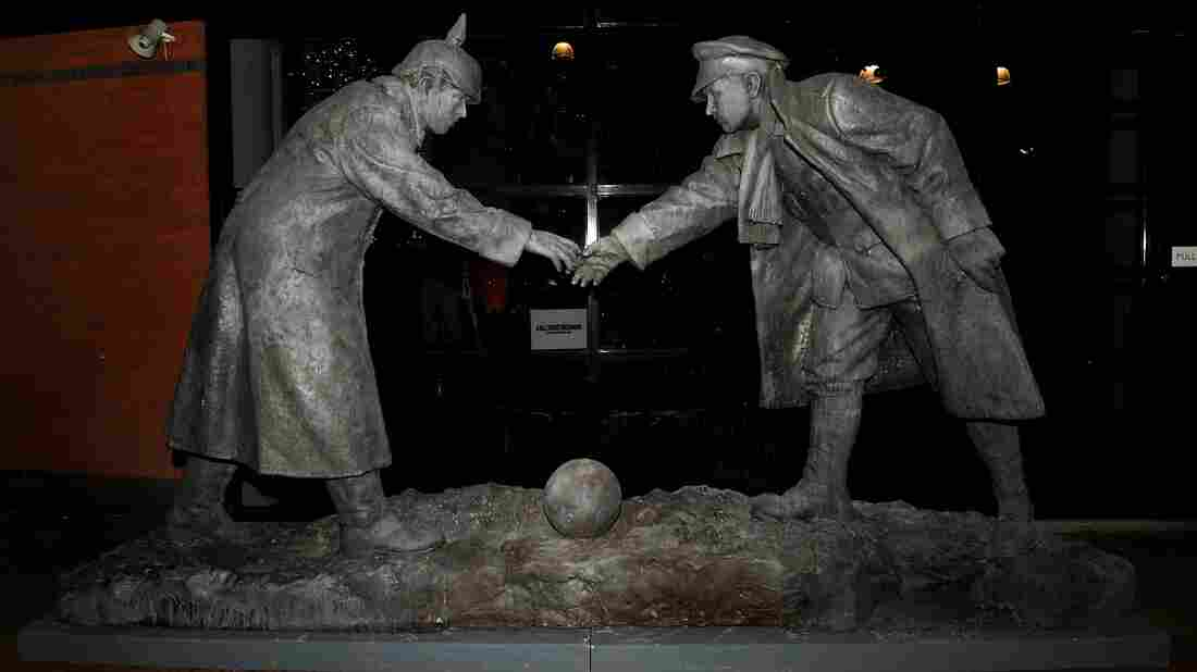 A sculpture at Britannia stadium in the English city of Stoke-on-Trent commemorates the Christmas Truce, a legendary soccer game played between German and British troops in December 1914.