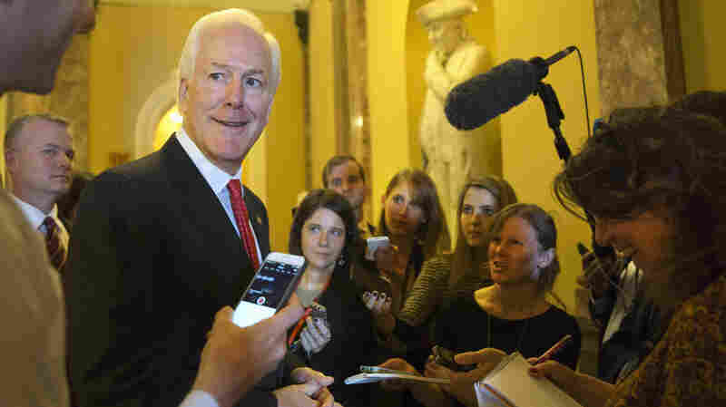Incoming Senate Majority Whip John Cornyn, R-Texas smiles Nov. 12 as he talks with reporters on Capitol Hill in Washington.