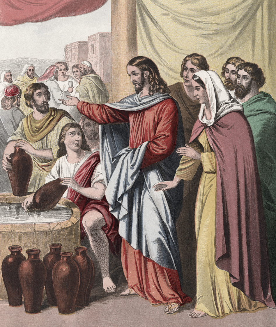 An illustration depicts Jesus Christ transforming water into wine during the wedding at Cana (John 2:7). (Joseph Martin Kronheim/Kean Collection/Getty Images)