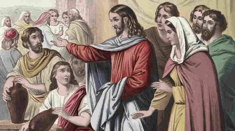 An illustration depicts Jesus Christ transforming water into wine during the wedding at Cana (John 2:7).