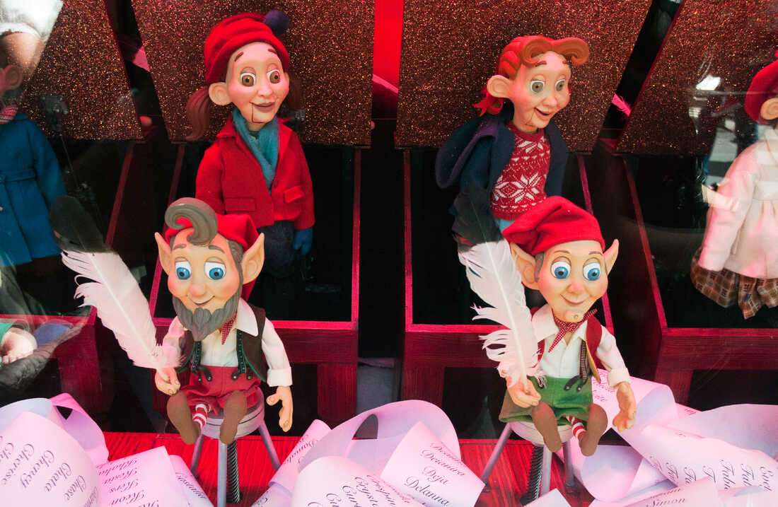 A Christmas pageant display in the Myer department store windows depicts Santa's elves in Melbourne, Australia.