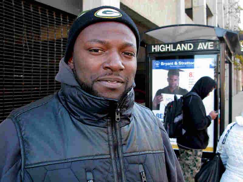 McArthur Edwards' driver's license was suspended for two years because he was unable to pay a $64 fine. He's using this bus stop to commute.