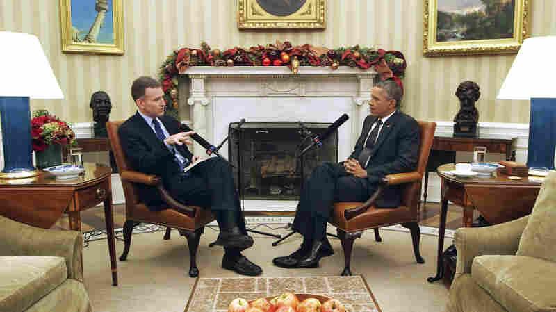 NPR's Morning Edition host Steve Inskeep interviews President Barack Obama in the Oval Office on Thursday, December 18, 2014.