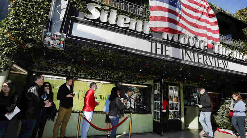 "Patrons queue up to see ""The Interview"" Thursday at the the Cinefamily at Silent Movie Theater in Los Angeles."