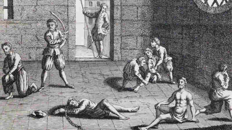 "This copper engraving from approximately 1700 depicts the condition of the English prisoners at the hands of the Dutch. Cornell University's Eric Tagliacozzo says that in the 1660s, the conflict and competition for the spice trade came to a head. ""The Dutch decapitated a number of English merchants who were also in the Spice Islands trying to profit from the trade."""