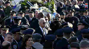 Vice President Joe Biden, center, arrives for funeral services for New York City police officer Rafael Ramos at Christ Tabernacle Church, in the Glendale section of Queens, on Saturday.