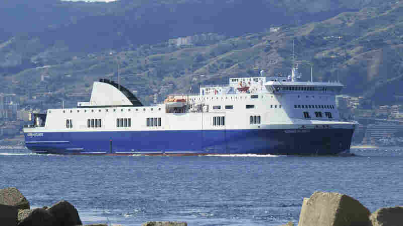 The Norman Atlantic ferry is seen in a photo taken in September. The vessel is the subject of a rescue in the Adriatic Sea.
