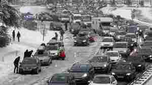 Thousands Of Motorists Stranded By Snow In French Alps