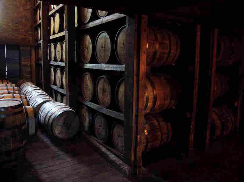 Aging bourbon at a distillery in Kentucky.