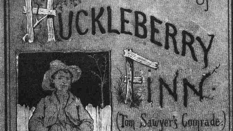 Cover of the book 'Adventures of Huckleberry Finn (Tom Sawyer's Comrade)' by Mark Twain (Samuel Clemens), 1884. The illustration is by E. M. Kimble.