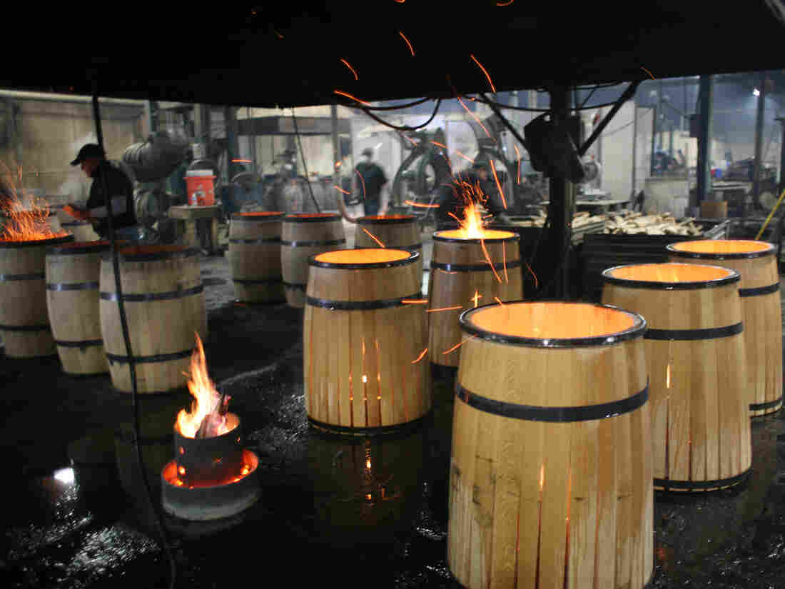 """""""Once we have the toast layer we'll let the barrel ignite,"""" says Paul McLaughlin of Kelvin Cooperage in Louisville, Ky."""