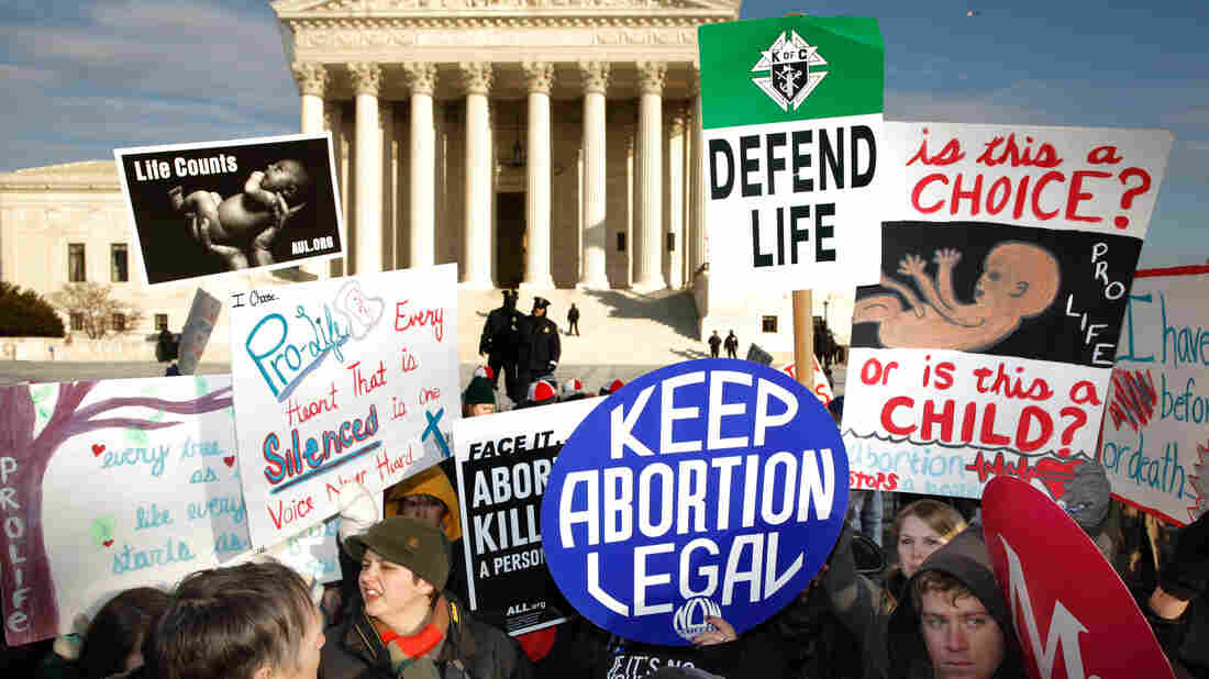 Demonstrators on both sides of the abortion debate protest in front of the Supreme Court in 2011.