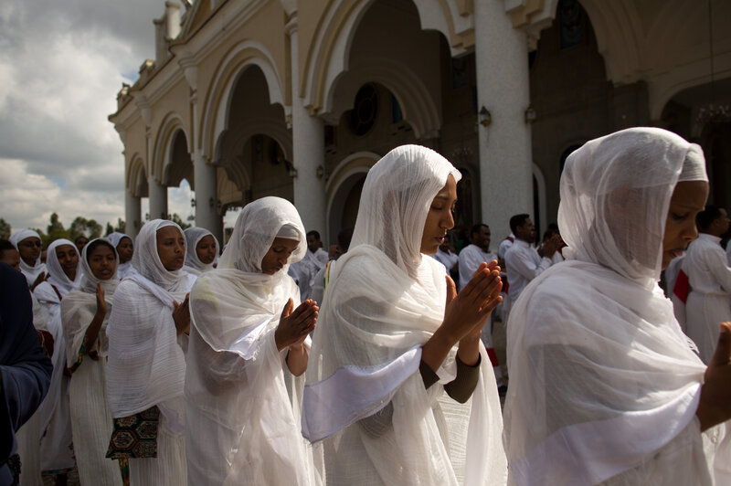 Participants sing during a wedding ceremony at Bole Medhane Alem (Savior of the World) Cathedral in Addis Ababa, Ethiopia. It's Africa's largest Orthodox church, and its message on contraceptive devices is clear: not permitted.