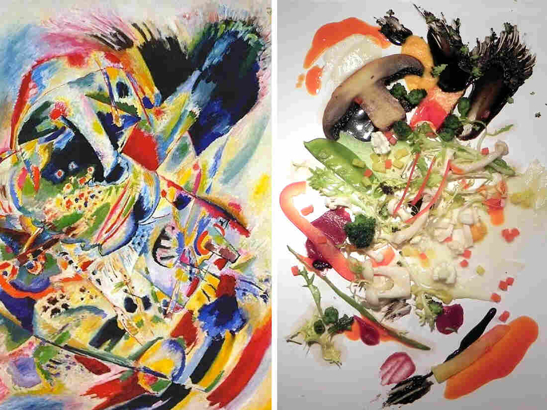 Kandinsky's Painting No. 201, on the left, was the inspiration for the salad on the right. Diners enjoyed their greens more when plated to resemble the work of art.