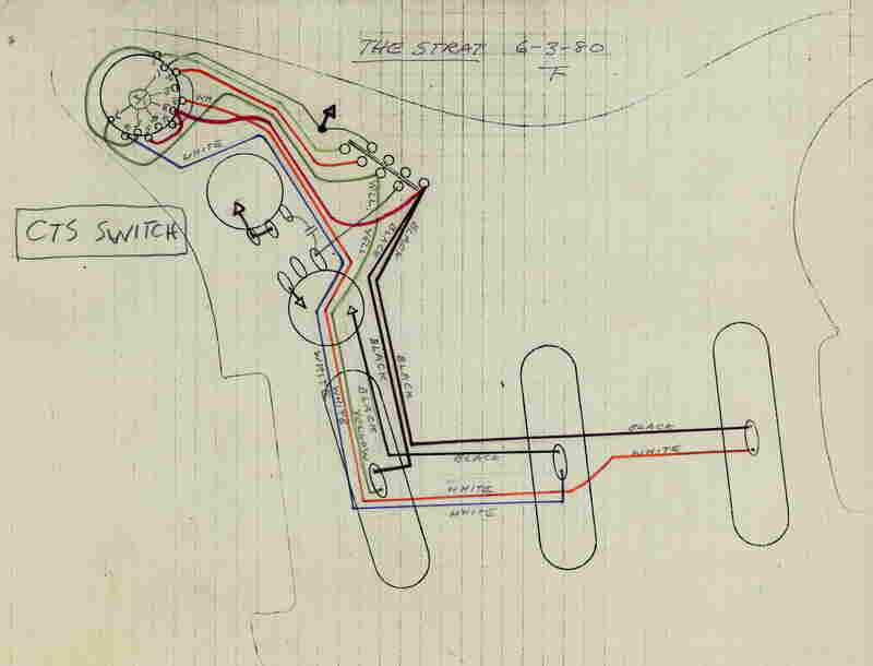 An in-house diagram from 1980 shows how the Stratocaster is wired to switch between its three pickups.