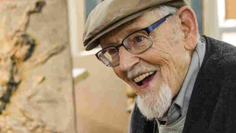 """Eric Bransby, pictured above in his home in Colorado Springs, is still creating art at 98. """"I try to make each mural a project that will somehow expand my abilities a little bit more,"""" he says."""