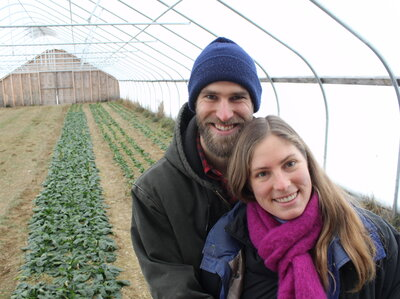 Buying land is a challenge for many young farmers, but Gene and Mary Margaret Ripley found an affordable property in Maine. This high tunnel lets them produce cold-hardy crops like spinach into mid-winter.