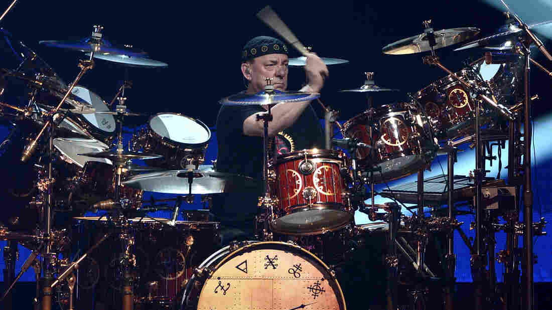 Rush's Neil Peart performs at the Rock And Roll Hall Of Fame Induction Ceremony in 2013.