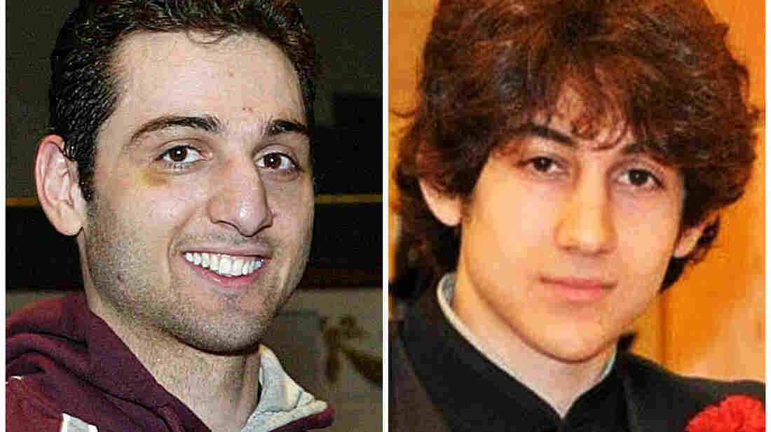 This combination of undated photos shows Tamerlan Tsarnaev (left) and Dzhokhar Tsarnaev. During a gunbattle with police days after the Boston bombing, Dzhokhar ran over and killed his older brother.