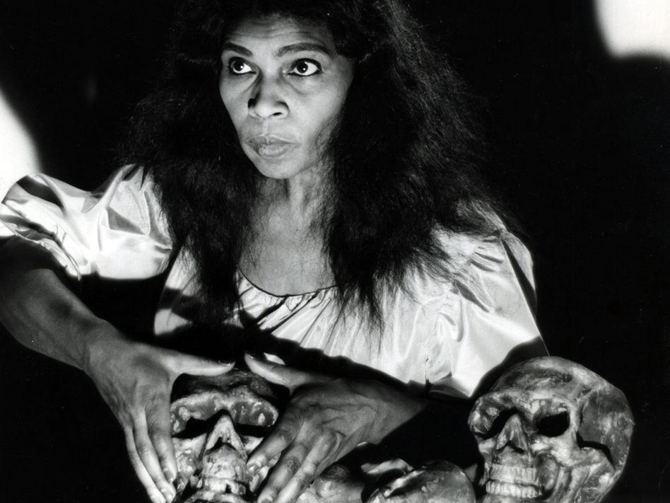 Contralto Marian Anderson in the role of Ulrica from a Metropolitan Opera production of Verdi's<em> Un ballo en maschera</em> in 1955. Anderson was the first African-American soloist to appear at the Met.