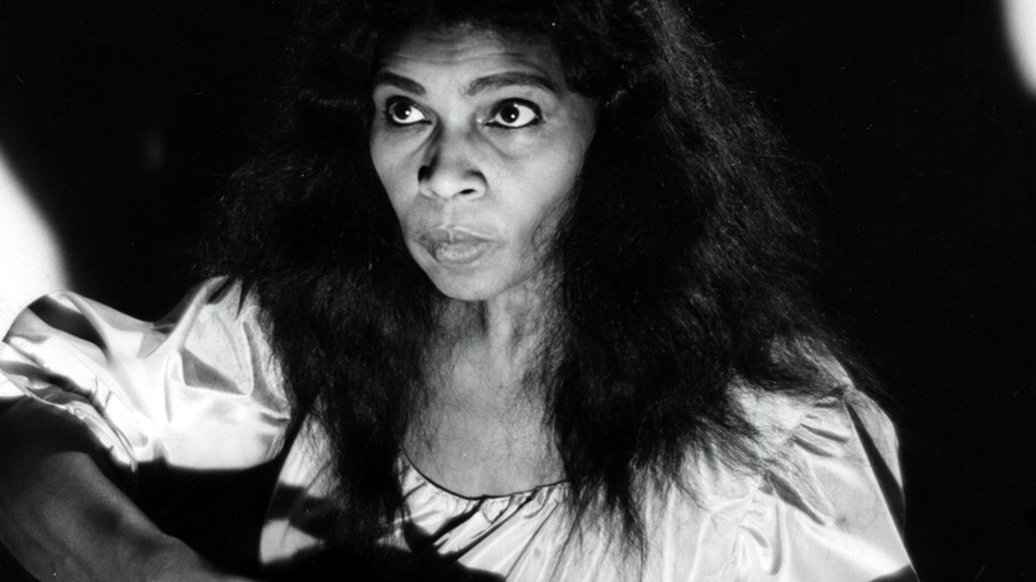 Contralto Marian Anderson in the role of Ulrica from a Metropolitan Opera production of Verdi's Un ballo en maschera in 1955. Anderson was the first African-American soloist to appear at the Met. (Metropolitan Opera Archives)