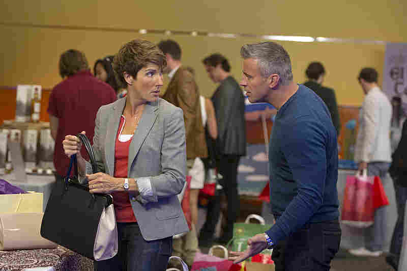 Episodes stars Tamsin Greig (left) as Beverly. She and her husband co-wrote a hit TV series in England, but were lured to America to adapt their show for U.S. audiences. The adaptation stars Matt LeBlanc (right).