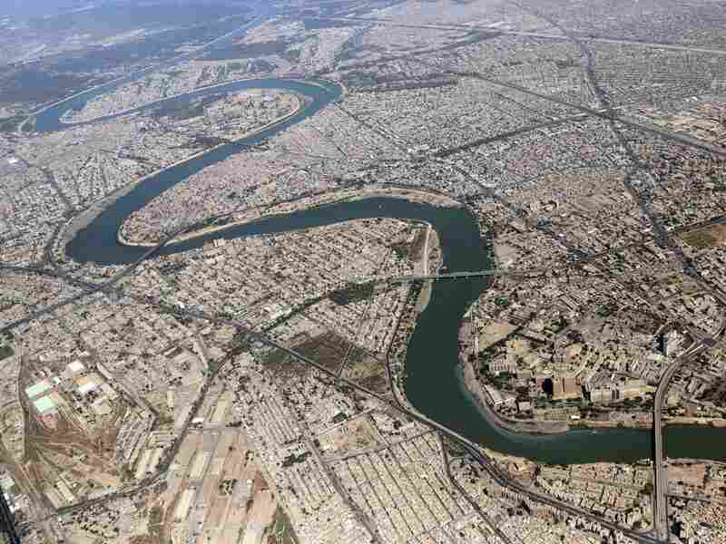 The Tigris River snakes its way through Baghdad, Iraq, in October 2013.