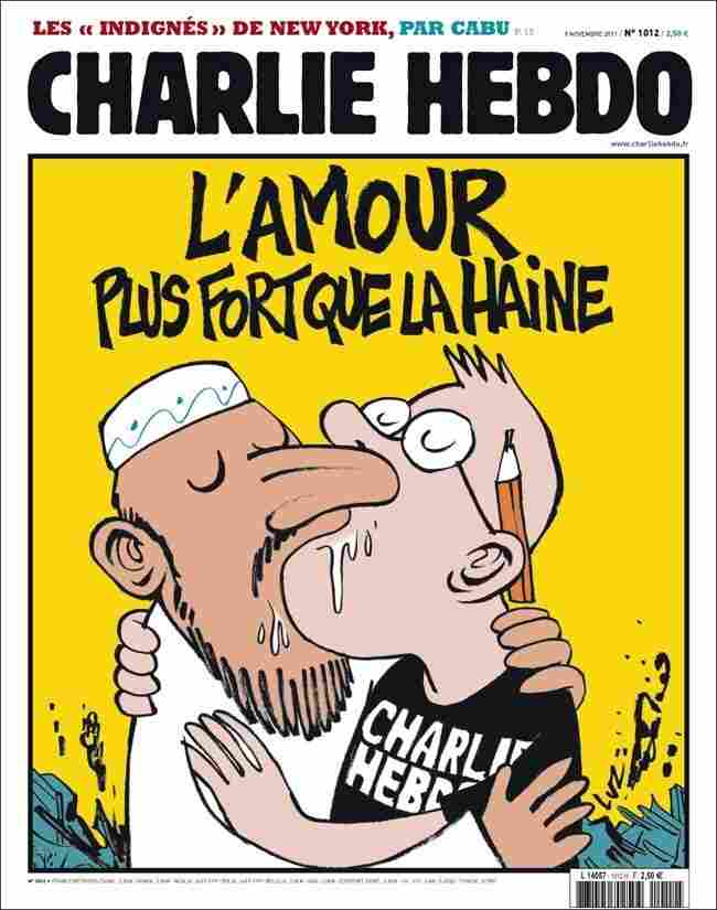 This cover ran in 2011, in response to the firebombing of the Charlie Hebdo offices.