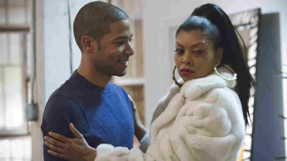 Jamal (Jussie Smollett) welcomes home his mother (Taraji P. Henson), but she has about as much more on her mind as this look makes it seem like she does.