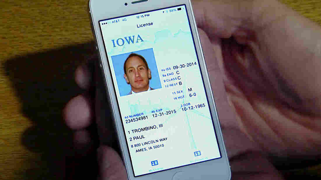 A screen shot taken from a video demonstrating how Iowa's digital driver's license would look on a smartphone.