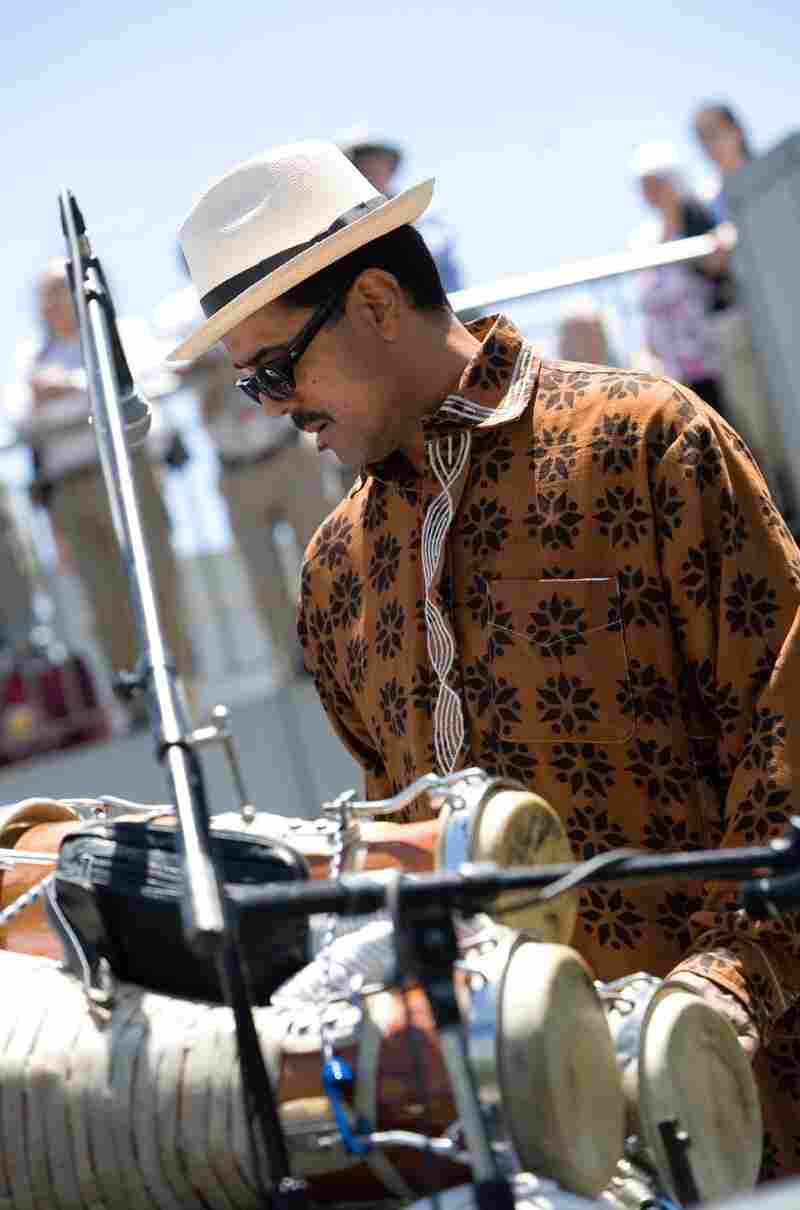 Percussionist and bandleader John Santos performs with Afro Cuban batá drums in California's Bay Area.