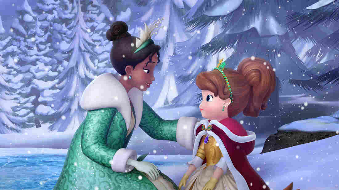 """In the """"Winter's Gift"""" episode of Sofia the First, Disney Princess Tiana (left) from The Princess and the Frog makes a special appearance to help Princess Sofia learn that a true gift comes from the heart."""