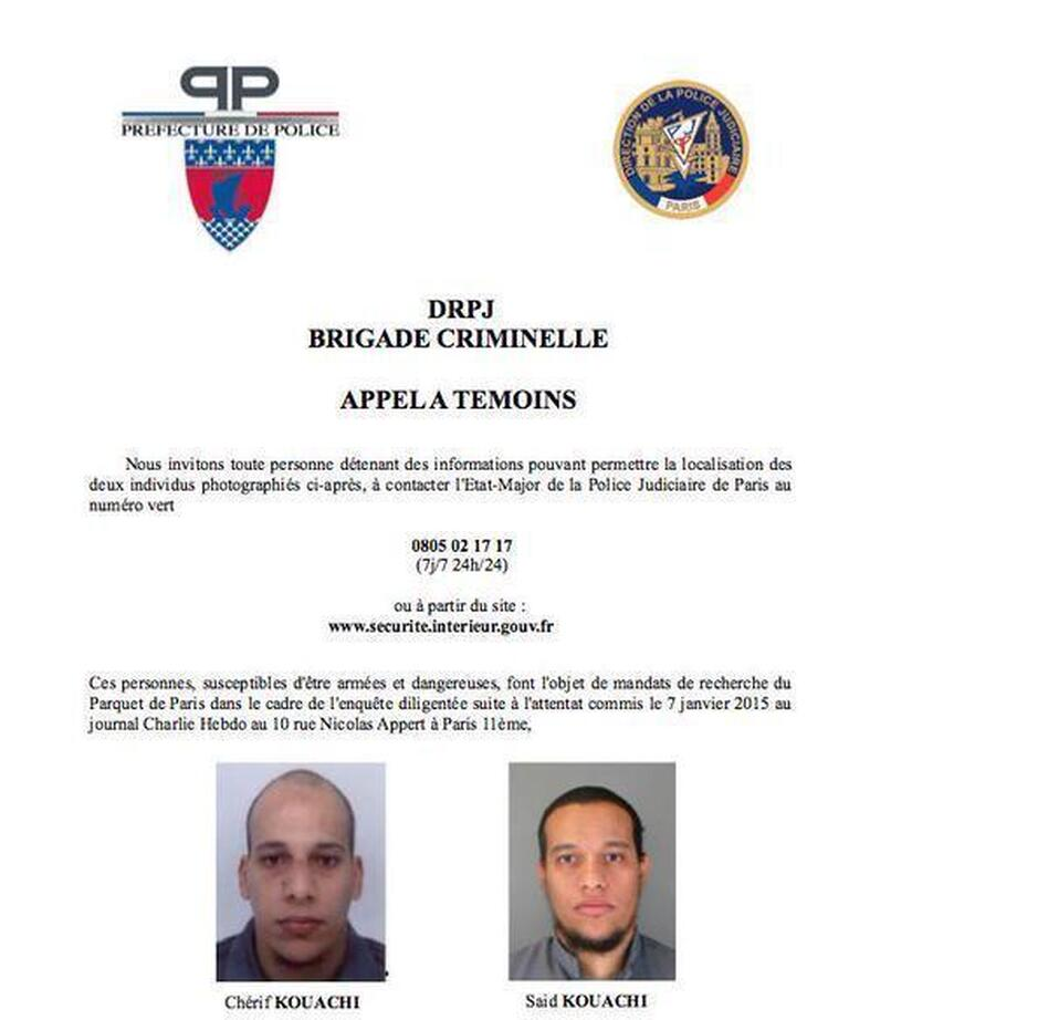 A police bulletin sought the public's help in finding two suspects in the deadly attack on a satirical magazine's Paris offices Wednesday. Pictured are brothers Chérif (left) and Said Kouachi. (La prefecture de Police)