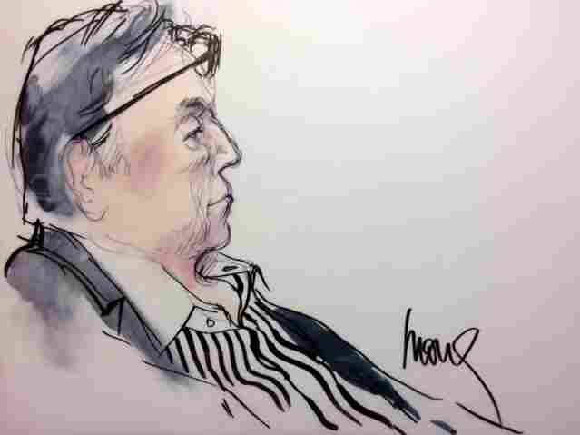Inside her home studio, Shafer Edwards has stacks of folders on her desk overflowing with images of courtroom scenes. This sketch depicts former LA Clippers owner, Donald Sterling.