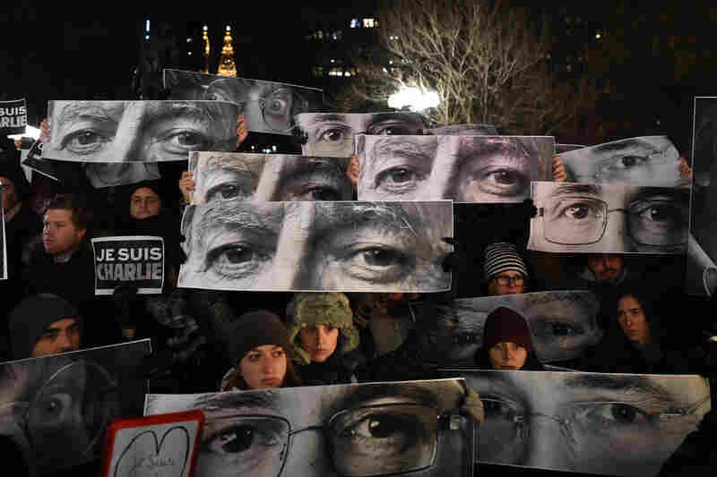 People gather in New York City's Union Square in memory of the victims.