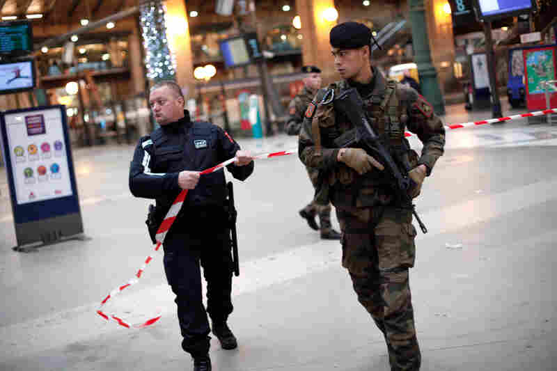 French soldiers patrol near the Gare du Nord railway station in Paris.