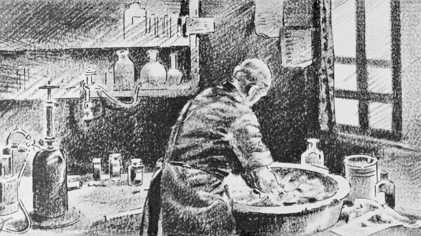 Ignaz Semmelweis washing his hands in chlorinated lime water before operating