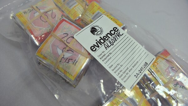 Synthetic drugs, gathered in evidence bags