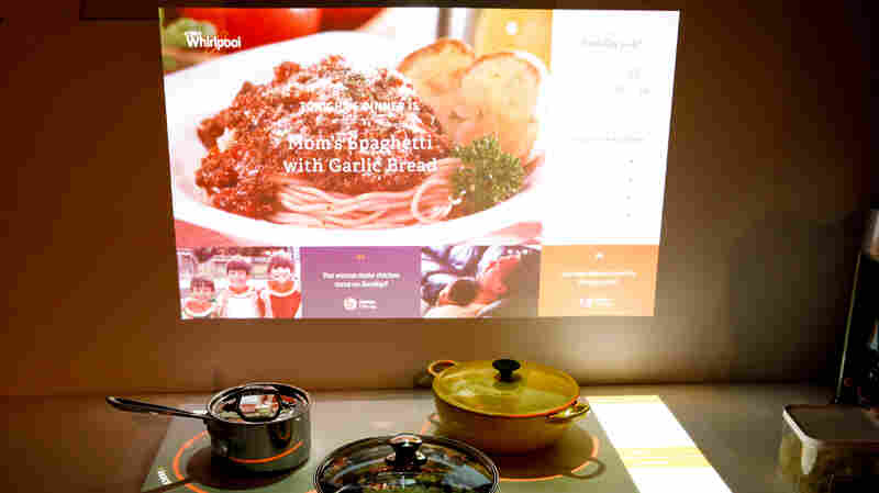Whirlpool's Kitchen of the Future is on display at the International Consumer Electronics Show in Las Vegas. The concept includes a cooktop and connected backsplash that offers recipes and other information.