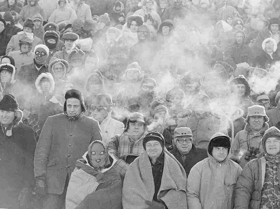 """Fans watch the Green Bay Packers play the Dallas Cowboys in the NFL Championship game in Green Bay, Wis. on Dec. 31, 1967. Many fans are calling this weekend's game the second """"Ice Bowl."""""""